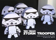 Big Head Star Wars Paper Crafts: Storm Troopers, Darth Vader and Boba Fett