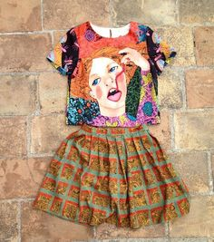 Vintage handmade colored totem skirt by Mishahomemade on Etsy, $160.00