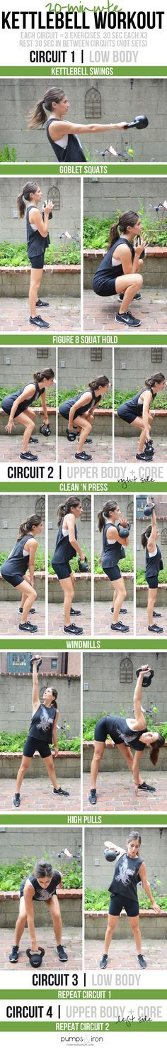 20-minute kettlebell workout -- broken up into four sections, each 4:30 long