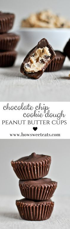 Chocolate Chip Cookie Dough Peanut Butter Cups by @howsweeteats I howsweeteats.com