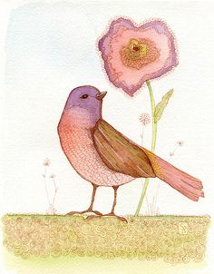 """Original watercolor & ink painting 'Sweet Tweet' by Stephanie Ryan. This sweet little tweeter is precious in beautiful muted colors.  Painted with professional quality watercolor paints on Arches cold press watercolor paper.  This print fits perfectly into a 5""x 7"" matted frame.""  $50"
