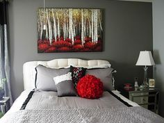 Sophisticated 1930s Era Bedroom, Cool Gray With A Splash Of Red, Painting  Of Forrest With White, Black, Red, Yellow Colors And Accent Pillows  Reflecting The ...