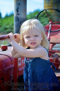 Tractor love! Girls Dresses, Flower Girl Dresses, Tractor, Wedding Dresses, Photography, Fashion, Bridal Dresses, Moda, Bridal Gowns