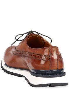 Berluti Men's Venezia Leather Brogue Sneakers - Bergdorf Goodman Fancy Shoes, Formal Shoes, Me Too Shoes, Men's Shoes, Shoes Sneakers, Dress Shoes, Leather Brogues, Calf Leather, Brown Sneakers