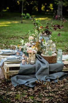 rustic picnic with pallets serving as table