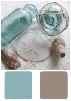 Shell beige, sand and blue glass
