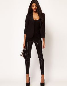 Asos Collection Asos Leggings with Sequin Panel in Black - Lyst