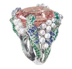 A finger weight of a rose garden Dior fine jewelry ring.