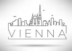 Vector: Linear Vienna City Silhouette with Typographic Design