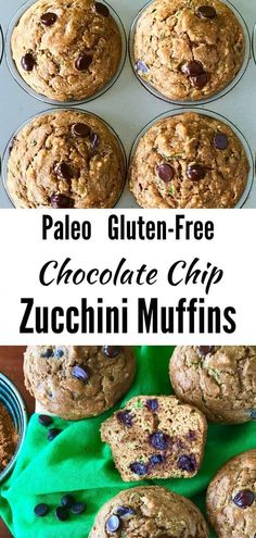 These easy flourless Chocolate Chip Zucchini Muffins use almond flour, coconut flour, spices, lemon and, of course, chocolate chips for a healthy snack that tastes like an indulgent treat! They're big, light, fluffy and perfectly moist. Plus they're perfect for your gluten free, dairy free, Paleo and clean eating lifestyle but they taste like the real thing! #glutenfreezucchinimuffins #paleozucchinimuffins #healthyzucchinimuffins
