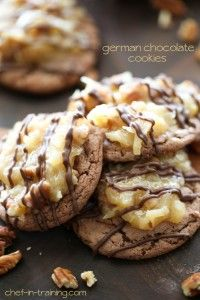 GERMAN CHOCOLATE COOKIES.....INGREDIENTS : 2 boxes german chocolate cake mix, dry ~ 4 eggs ~ 10 Tbsp. butter, melted COCONUT PECAN FROSTING ~ 1 cup evaporated milk ~ 1 cup sugar ~ 3 egg yolks ~ ½ cup butter ~ 1 tsp. vanilla ~ 1⅓ cup sweetened shredded coconut, for drizzle ~ 1 cup chopped pecans ~ 4 oz. melted chocolate candy coating, for drizzle.....INSTRUCTIONS :  combine cake mix, eggs and melted butter in a large mixing bowl and beat until well mixed. Batter should be sticky and thick.