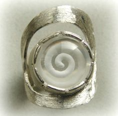 """The mystic spiral"" Quartz reverse intaglio ring"