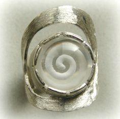 """""""The mystic spiral"""" Quartz reverse intaglio ring"""