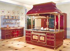 Fhiaba at Officine Gullo Beautiful Kitchen Designs, Beautiful Kitchens, Cool Kitchens, Antique Wood Stove, How To Antique Wood, Barn Kitchen, Kitchen Decor, Kitchen Stuff, Red Kitchen Appliances