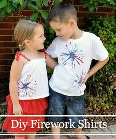 Super easy Diy Firework Shirts made with a little fabric paint and pipe cleaners.