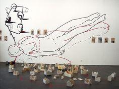 Raumzeichnung mit Klebestreifen, Arbeiten aus der Werkgruppe: Die andere Baustelle, Artforum Offenburg, 2006, © Jörg Mandernach