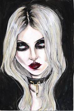 lucasbavid: New Painting of Taylor Momsen By Lucas David 2015 Estilo Taylor Momsen, Sad Girl Art, Art Sinistre, Lucas David, Dibujos Dark, Girls Anime, Goth Art, Creepy Art, Aesthetic Drawing
