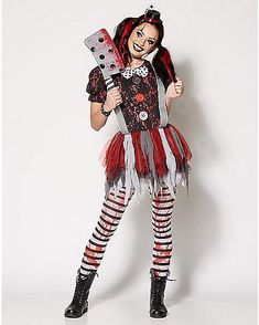 Can't decide whether you want to be scary or sexy this year? Who says you can't sexy and scary (or even cute). Evil Clown Costume, Circus Halloween Costumes, Circus Costume, Halloween Masquerade, Scary Clown Outfit, Halloween Makeup, Clown Costumes, Clown Makeup, Creepy Halloween