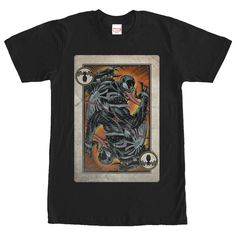Dont just play the game, dominate the game with the Marvel Venom Playing Card Black T-Shirt. A distressed print turns Venom into a playing card  on the front of this epic black Venom T-shirt.