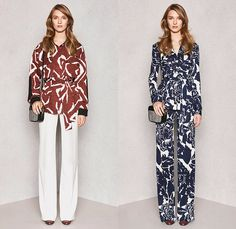 Diane Von Furstenberg 2015 Pre Fall Autumn Womens Lookbook Presentation - Denim Jeans Coat Lace Wrap Dress Flowers Patchwork Geometric Tribal Ruffles Leopard Silk Tweed Outerwear Sash Waist Jacket Miniskirt Blouse Boots Sleeveless Shirtdress Flowers Florals Botanical Fauna Leaves Foliage Print Graphic Pattern Ornamental Print Decorative Art Tribal Pantsuit Gown Maxi Dress Sheer Chiffon