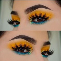 Tropical makeup, blue and yellow eyeshadow .- Tropisches Make-up, blauer und gelber Lidschatten – makeup Tropical makeup, blue and yellow eye shadows – make up… – - Yellow Makeup, Yellow Eyeshadow, Colorful Eye Makeup, Colorful Eyeshadow, Summer Eye Makeup, Silver Eyeshadow, Bright Eye Makeup, Summer Makeup Looks, Blue Eye Makeup