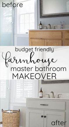 A few simple budget friendly updates to a builder grade bathroom make a big impact! This master bathroom makeover is full of farmhouse charm! decor diy builder grade Builder grade to farmhouse charm- Master bathroom makeover Country Farmhouse Decor, Farmhouse Chic, Farmhouse Windows, Farmhouse Plans, Vintage Farmhouse, Farmhouse Design, Chic Bathrooms, Amazing Bathrooms, Farmhouse Bathrooms