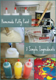 Homemade puffy paint from three simple ingredients - No cooking necessary, just mix and the paint is ready to use!