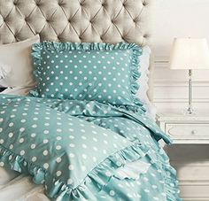 Chic Ruffled Edge Polka Dot Duvet Quilt Cover Classic Parisian Romantic Vintage Ruffle Girls Teen Cotton 3pc Bedding Set Full Queen Turquoise or Pink Queen Blue * You can find more details by visiting the image link.