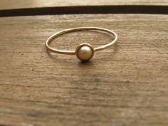 Goldringe - Perle Ring in 14K Gold, Perlen-Verlobungsring - ein Designerstück…