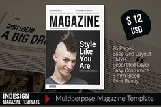 Indesign Magazine Template by i Sedhey on @creativemarket