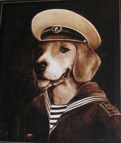 Ben moi, j'y vais! Portrait de beagle. huile sur toile.