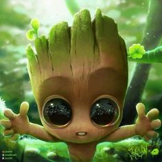 Artstation - baby groot by joaslin, joaslin joaslin Cute Animal Drawings, Kawaii Drawings, Disney Drawings, Cute Drawings, Drawing Disney, Drawing Animals, Disney Sketches, Marvel Wallpaper, Cartoon Wallpaper