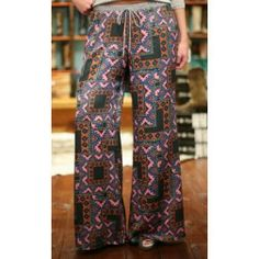 Cousin Earl 24001 Wide Leg Pull On Aztec Palazzo Pant