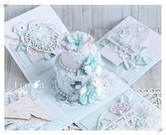 Mint Flowers, Unique Flowers, Small Flowers, Exploding Box Card, Wedding Cake Decorations, Paper Cake, Explosion Box, Paper Roses, Flower Making