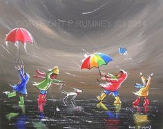 PETE RUMNEY FINE ART ORIGINAL OIL ACRYLIC PAINTING UMBRELLAS RAINY DAYS SIGNED in Art, Artists (Self-Representing), Paintings | eBay