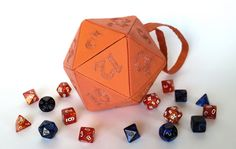 SALE  Orange and Copper Small d20 bag  dice bag and by isoppie