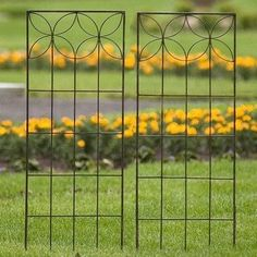 "H. Potter Flower Metal Garden Trellis Small 2- Pac by H. Potter. $3299.99. Flower Trellis Exquisite Design A delicate floral design adds aesthetic splendor to the Petal Trellis, complementing the flowering blooms that surround it. 24""W x 72""H Large 19"" W x 48"" H Small Charcoal Brown Finish Ships Quickly"