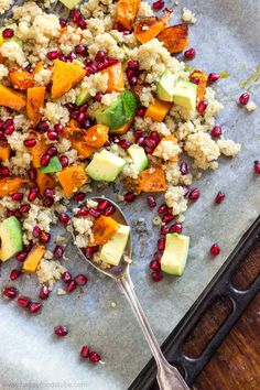 Oven Roasted Butternut Squash Salad with Quinoa and Pomegranate. Packed with vitamins, minerals and antioxidants! It is a perfect fall salad! | happyfoodstube.com