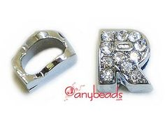 """Alphabet """"R"""" Slide Charm with Crystal Rhinestones. Create your own unique personalized name bracelet."""