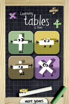 Kids from 4 to 10 will have fun learning additions, subtractions, multiplications and divisions tables (up to 10) with this game.