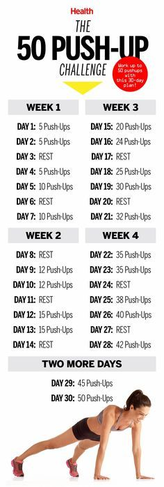 This 50 push-up challenge will transform your whole body in just 4 weeks. Get set to stick to this simple plan, then watch yourself get stronger.   Health.com