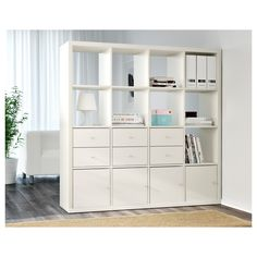 KALLAX Shelf unit - white - IKEA - You can use the furniture as a room divider because it looks good from every angle Etagere Cube Ikea, Etagere Kallax Ikea, Ikea Kallax Shelf Unit, Ikea Shelves, Ikea Storage, Wall Storage, Toy Storage, Glass Shelves, Shelving Units