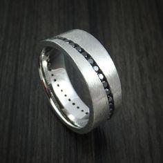 Cobalt Chrome and Black Diamonds Eternity Ring Custom Made Band
