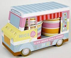 This ice cream van holds 12 ice cream cups and 12 ice cream spoons. Perfect for parties, birthdays, and more!