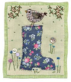 Sharon Blackman: Wellington boots etc! Inspiration only Freehand Machine Embroidery, Free Motion Embroidery, Machine Embroidery Applique, Applique Quilts, Patchwork Quilting, Hand Applique, Applique Patterns, Applique Designs, Sewing Art