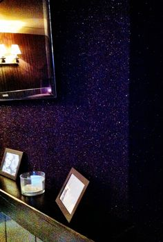 purple glitter wall-paper, oh I want some!!