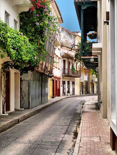 Cartagena, Colombia. I would love to walk down this dainty street!