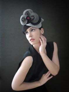 Fall Fashion Navy Blue and Grey Sculptural Felt Hat/Fascinator-Clover - Made to Order