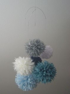 Nautical+...+tissue+paper+pom+mobile+//+nursery+by+PomLove+on+Etsy,+$40.00