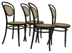 $600 Set of four vintage Thonet Bentwood side chairs w/ cane seat and backs